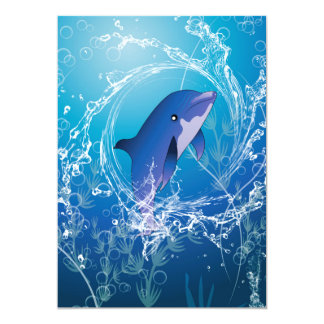 "Cute dolphin 5"" x 7"" invitation card"