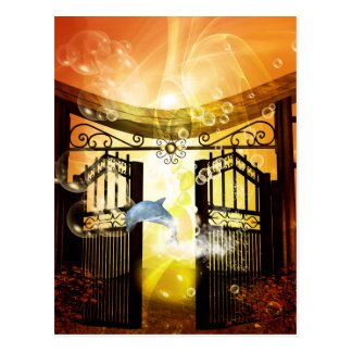 Cute dolphin jumping by a gate postcard