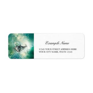 Cute dolphin label