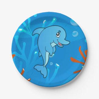 Cute Dolphin Ocean Aquatic Paper Plates 7 Inch Paper Plate