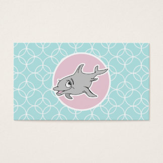 Cute Dolphin on Baby Blue Circles Business Card