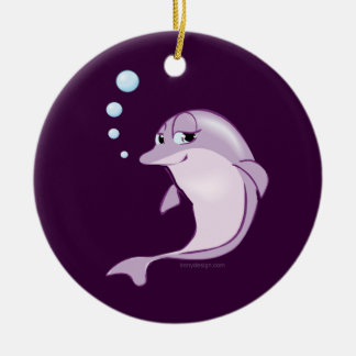 Cute Dolphin Double-Sided Ceramic Round Christmas Ornament