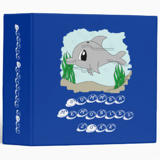 Cute Dolphin Photo Album Template 3 Ring Binder