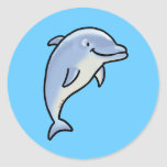 Cute dolphin round stickers