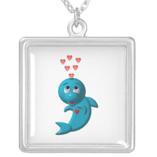 Cute Dolphin with Hearts Necklace