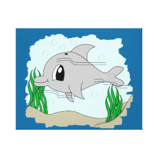 Cute Dolphin Wrapped Canvas Canvas Print