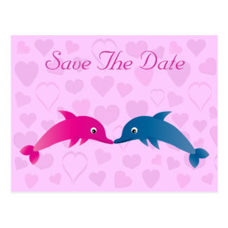 Cute Dolphins & Hearts Save The Date Postcard