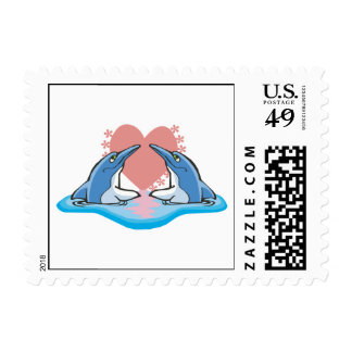 cute dolphins in love postage