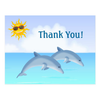 Cute Dolphins Ocean Beach Thank You Postcard