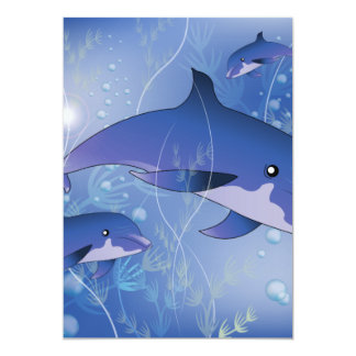 """Cute dolphins playing 5"""" x 7"""" invitation card"""