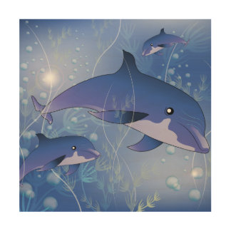 Cute dolphins playing wood print