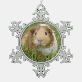 Cute Domestic Guinea Pig Snowflake Pewter Christmas Ornament
