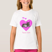 Cute Donkey and Pink Hearts T-Shirt