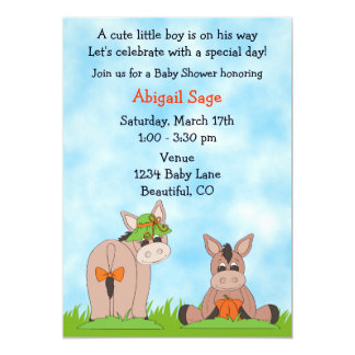 Cute Donkey Baby Shower Invitation for Boys