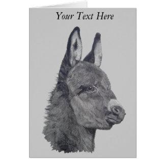Cute donkey drawing realist animal art note card
