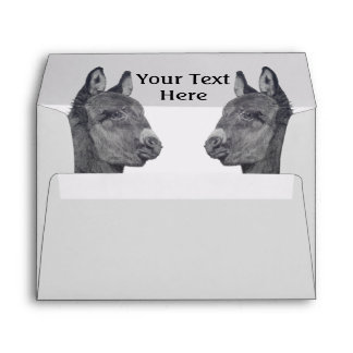 Cute donkey drawing realist art black and white envelope