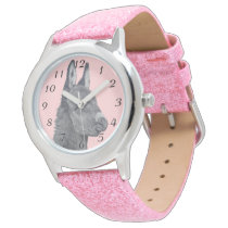 Cute donkey pencil drawing monochrome realist art wrist watch