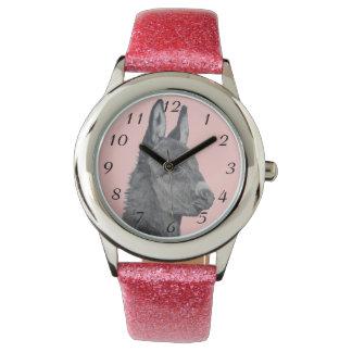 Cute donkey pencil drawing monochrome realist art wrist watch