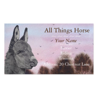 Cute donkey picture art animal vet blacksmith business card