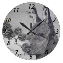 Cute donkey portrait art animal snow scene large clock
