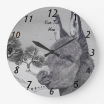 Cute donkey with landscape background lifelike art large clock