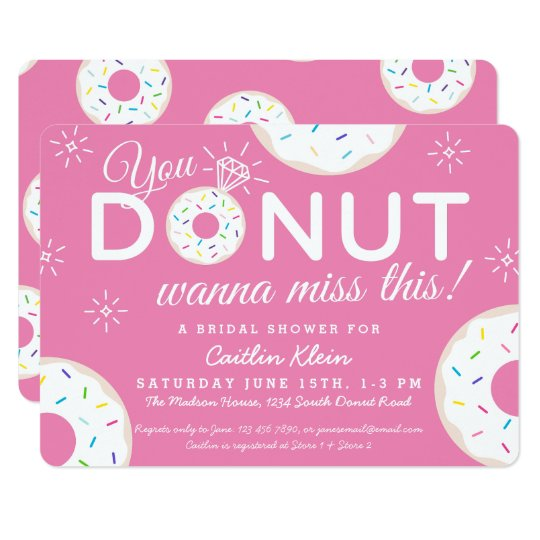 cute donut bridal shower invitations pink