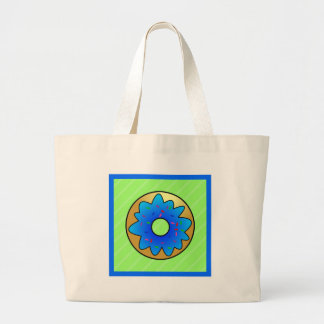 Cute Donut Crtoon with Blue Frosting and Sprinkles Large Tote Bag