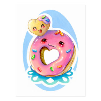 Cute Donut & Donut Hole Friends Forever Postcard