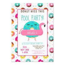 Cute Donut Flamingo Birthday Pool Party Girls Invitation