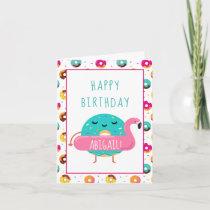 Cute Donut Flamingo Happy Birthday Pool Party Card