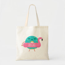 Cute Donut Flamingo Pool Party Personalized Girls Tote Bag