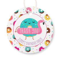 Cute Donut Flamingo Pool Party Thank you Birthday Favor Tags