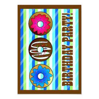Cute Donut Party Birthday Invite 5 x 7 - Blue