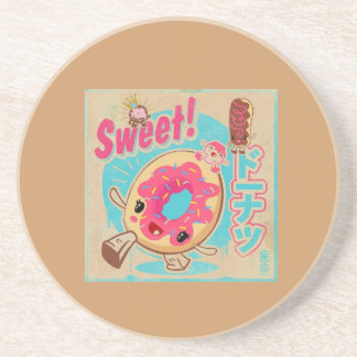 cute donut poster sandstone coaster