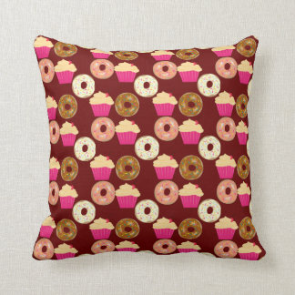 Cute Donuts & Cupcakes Throw Pillow