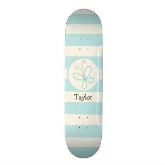 Cute Doodle Butterfly; Baby Blue Stripes Skateboard Deck