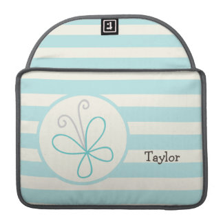 Cute Doodle Butterfly; Baby Blue Stripes Sleeve For MacBooks