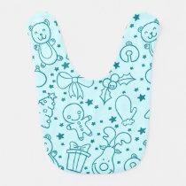 Cute Doodle Christmas Pattern Baby Bib