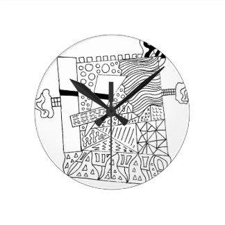 Cute Doodle Creature Round Clock