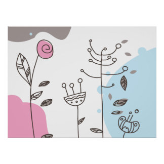 cute doodle flowers poster