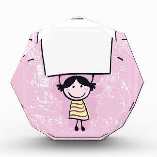 Cute doodle girl with design Board Award