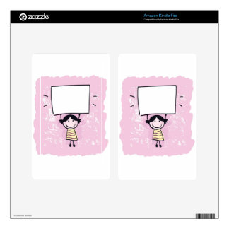 Cute doodle girl with design Board Skin For Kindle Fire