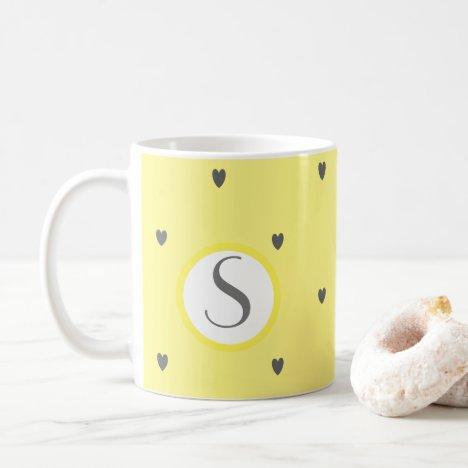 Cute Doodle Grey Heart Pattern Yellow Monograms Coffee Mug