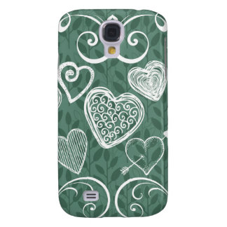 Cute Doodle Hearts and Flourish Pattern Samsung Galaxy S4 Cover