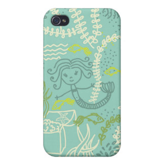cute doodle mermaids in vector iPhone 4 speck case iPhone 4 Covers