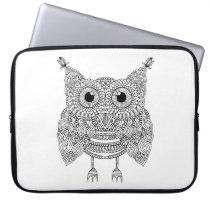 Cute Doodle Owl Laptop Sleeve