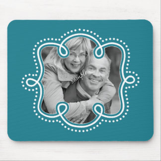 Cute Doodle Photo Template Teal Mouse Pad
