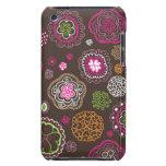 Cute doodle retro flowers heart pattern design iPod Case-Mate case