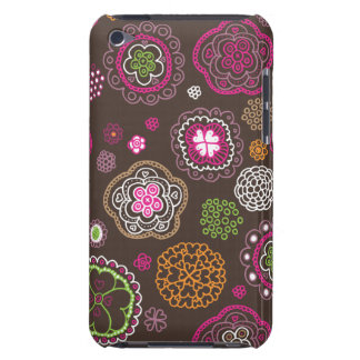 Cute doodle retro flowers heart pattern design Case-Mate iPod touch case
