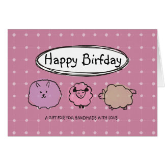 Cute doodle watercolor sheep knitting crochet card